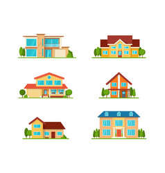 Set of modern cottage house front view isolated vector