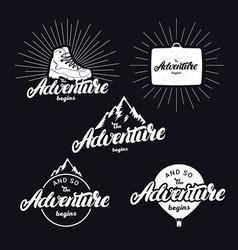 Set of the adventure begins hand written lettering vector