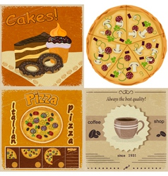 Set of vintage cards with the image of food vector image vector image
