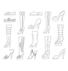set with different types trend womens shoes vector image
