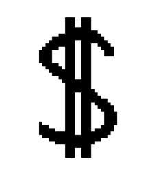 Sign pixel dollar black 407 vector image vector image