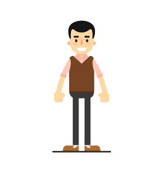Smiling young worker in pullover and pants vector