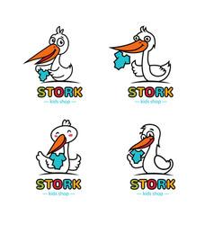 stork logos set vector image