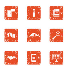 study business icons set grunge style vector image
