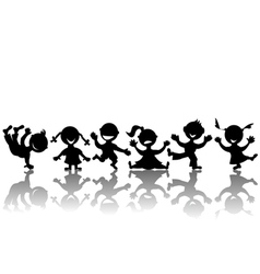stylized children silhouettes vector image