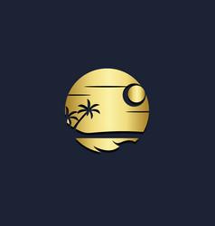 sunset beach tropic palm tree gold logo vector image
