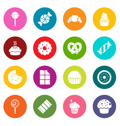 sweets candy cakes icons set colorful circles vector image