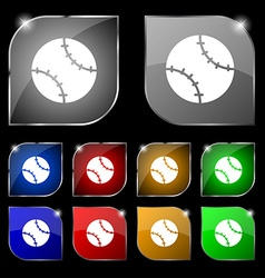 Tennis ball icon sign Set of ten colorful buttons vector