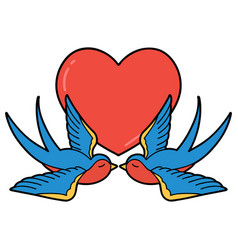 Traditional tattoo a swallows and a heart vector