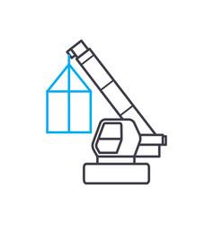 truck crane linear icon concept truck crane line vector image
