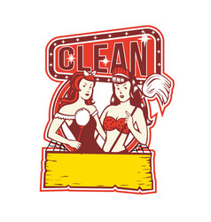 Twin cleaners clean 1950s retro vector