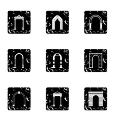Types of arches icons set grunge style vector