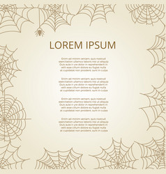 vintage poster with spider and cobweb frame vector image