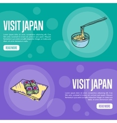 Visit japan touristic web banners vector