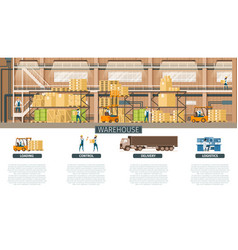 warehouse and distribution service for banner vector image