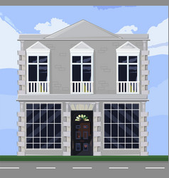 white house facade architecture store or vector image