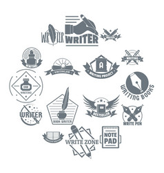 Write logo icons set simple style vector