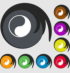 Yin Yang icon sign Symbol on eight colored buttons vector