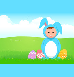 cartoon of a kid in rabbit costume vector image vector image