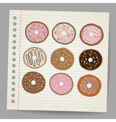 Doodle style donut or doughnut in format Set vector image