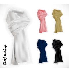 Knitted scarf set mockup vector image vector image