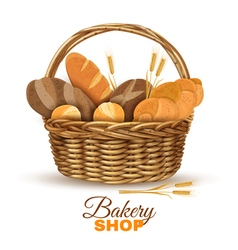 Bakery Basket With Bread Realistic Image vector image
