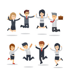 happy business people jumping team workgroup of vector image vector image