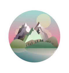 mountains lake forest landscape vector image