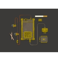 Steampunk design mobile phone flat vector image