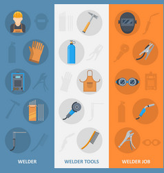 welder banner with flat icons set vector image vector image