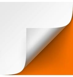 Curled corner of White paper on Orange Background vector image vector image