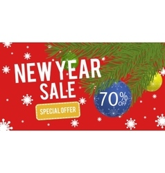 Happy New Year sale banner with 70 percent vector image vector image