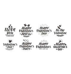 Happy Valentine s day Collection beautiful labels vector image vector image