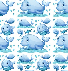 Seamless whale vector image vector image