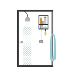 silhouette color bathroom with the shower open vector image