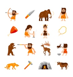 Stone Age Icons Set vector image vector image