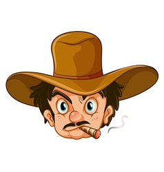 A man wearing a brown hat while smoking vector image vector image