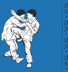Men show kung fu and a hieroglyph of kung fu vector