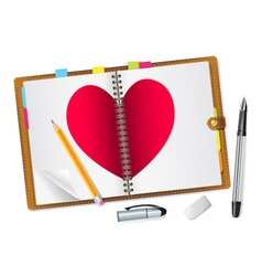 open diary with a red heart vector image vector image