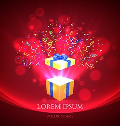 Open gift with fireworks from confetti vector image