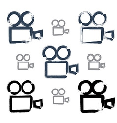 Set of realistic ink hand-drawn video camera icons vector image