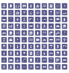 100 home icons set grunge sapphire vector