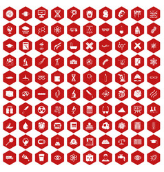 100 microscope icons hexagon red vector