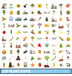 100 plant icons set cartoon style vector image