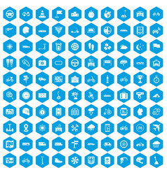 100 ride icons set blue vector