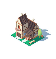 3d isometric large classic village house with vector image