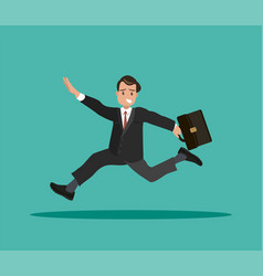 A businessman with a briefcase in his hand is late vector