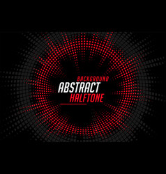 abstract halftone circular lines red black vector image