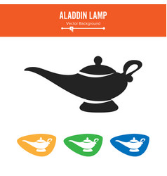 Aladdin lamp simple black silhouette vector