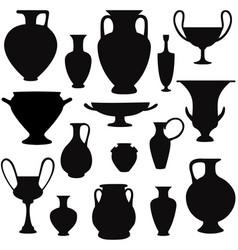 Ancient greek vase silhouette set greece icon vector
